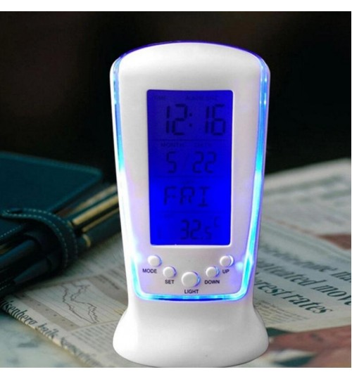 LED Digital Alarm Clock with Blue Backlight Electronic Calendar Thermometer