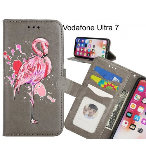 Vodafone Ultra 7 case Embossed Flamingo Wallet Leather Case