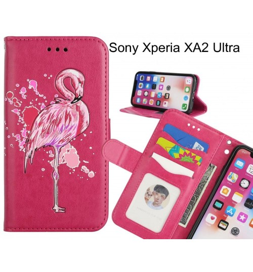 Sony Xperia XA2 Ultra case Embossed Flamingo Wallet Leather Case