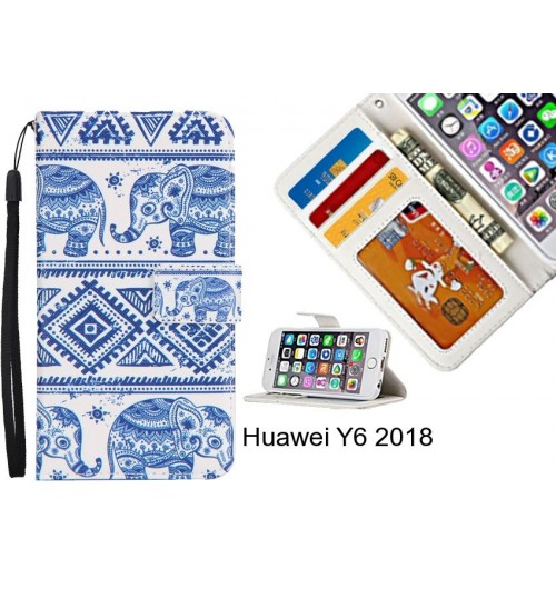 Huawei Y6 2018 case 3 card leather wallet case printed ID