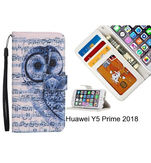 Huawei Y5 Prime 2018 case 3 card leather wallet case printed ID