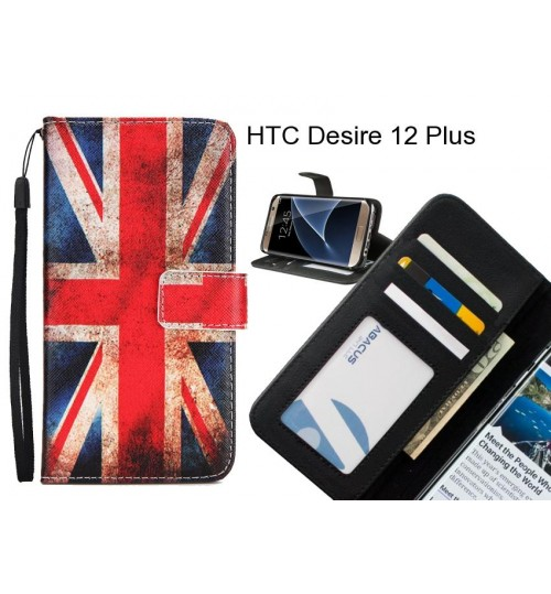 HTC Desire 12 Plus case 3 card leather wallet case printed ID