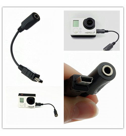 Mini USB to 3.5mm Microphone Mic Adapter Cable for GoPro HD Hero 3 3+