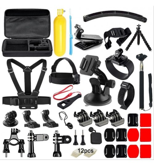 50in1 GoPro 1233+4 Mounts Accessories Kit Set + Large Carry case