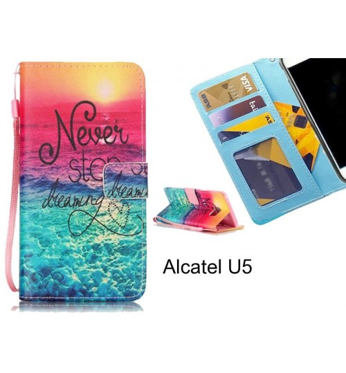 Alcatel U5 case 3 card leather wallet case printed ID