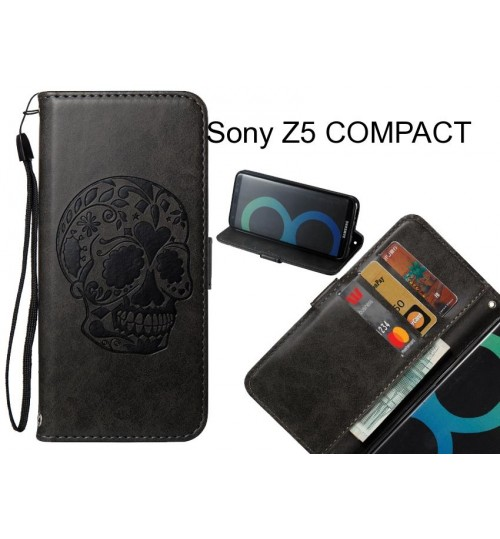 Sony Z5 COMPACT case skull vintage leather wallet case