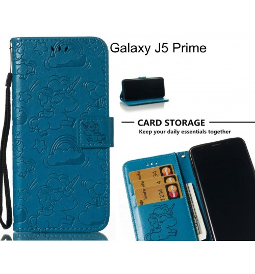 Galaxy J5 Prime Case Leather Wallet case embossed unicon pattern