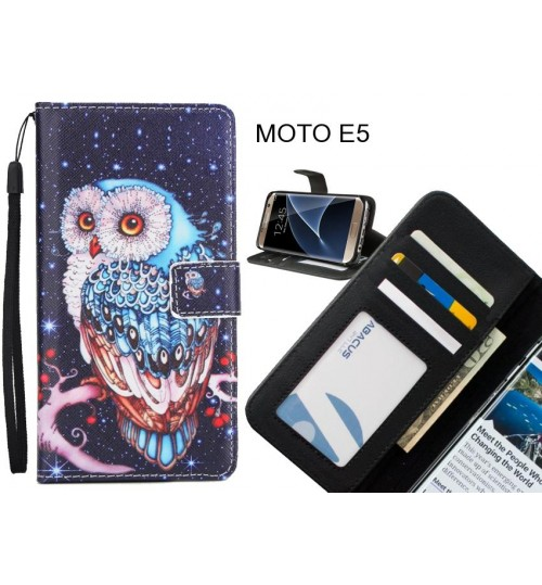 MOTO E5 case 3 card leather wallet case printed ID