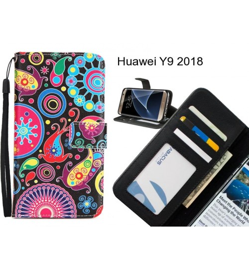 Huawei Y9 2018 case 3 card leather wallet case printed ID