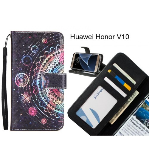 Huawei Honor V10 case 3 card leather wallet case printed ID