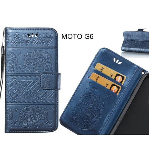 MOTO G6 case Wallet Leather flip case Embossed Elephant Pattern