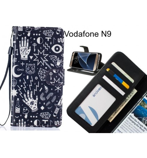 Vodafone N9 case 3 card leather wallet case printed ID