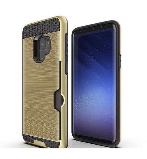 Galaxy S9 case impact proof hybrid  card clip Brushed Metal Texture