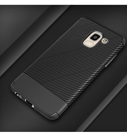Galaxy J6 2018 case slim soft Resilient Shock Absorb carbon fiber texture