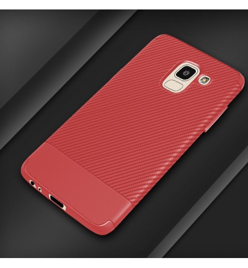 Galaxy J4 2018 case slim soft Resilient Shock Absorb carbon fiber texture