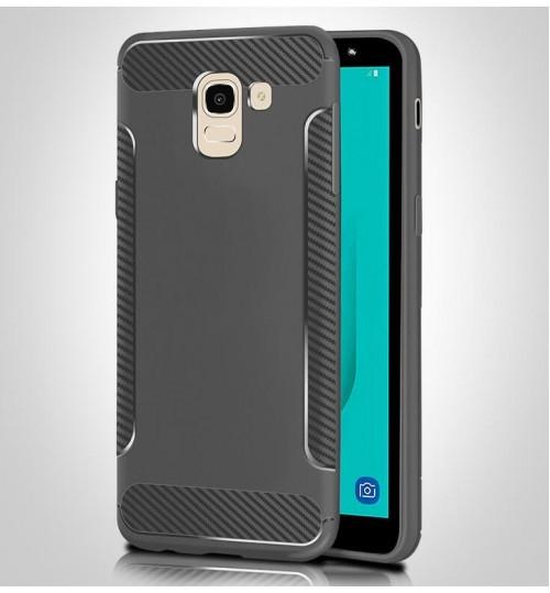 Galaxy J6 2018 case slim grip shockproof carbon fiber