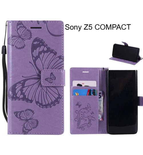 Sony Z5 COMPACT case Embossed Butterfly Wallet Leather Case