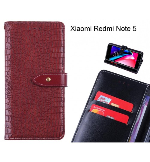 Xiaomi Redmi Note 5 case croco pattern leather wallet case