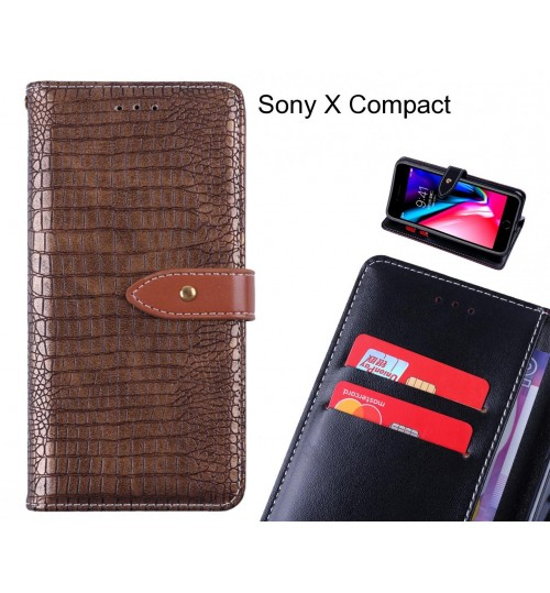 Sony X Compact case croco pattern leather wallet case