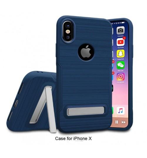 iPhone XS Slim Armor Carbon Fiber Brushed TPU Soft Kickstand cover case