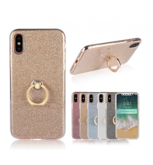 iPhone XS case Soft tpu Bling Kickstand Case with Ring Rotary Metal Mount