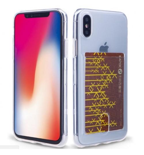 iPhone X Case Clear Soft TPU Card holder