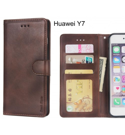 Huawei Y7 Case Wallet Leather Vintage Flip Folio Case