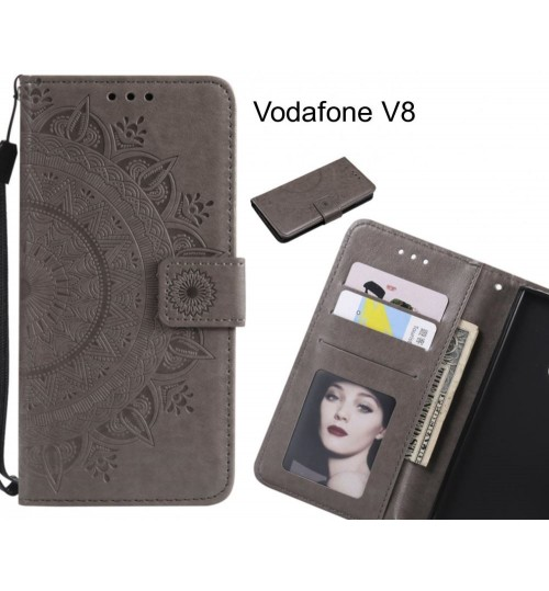 Vodafone V8 Case mandala embossed leather wallet case