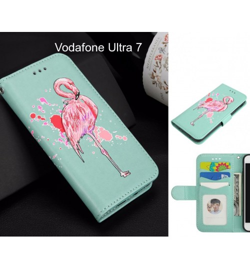 Vodafone Ultra 7 Case Wallet Leather Case Flamingo Pattern