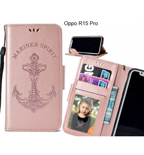 Oppo R15 Pro Case Wallet Leather Case Embossed Anchor Pattern
