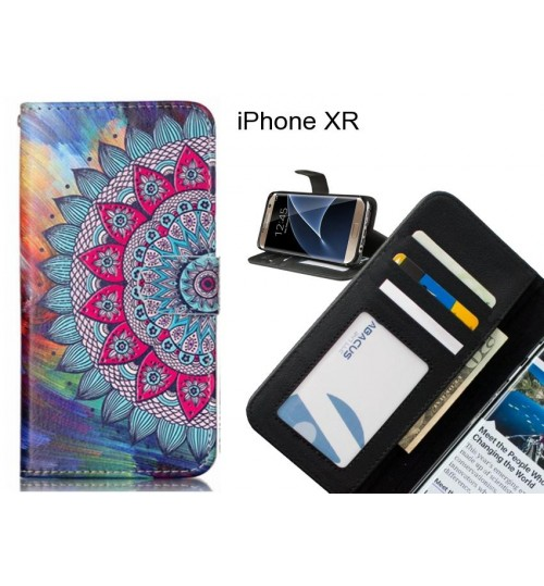 iPhone XR case 3 card leather wallet case printed ID