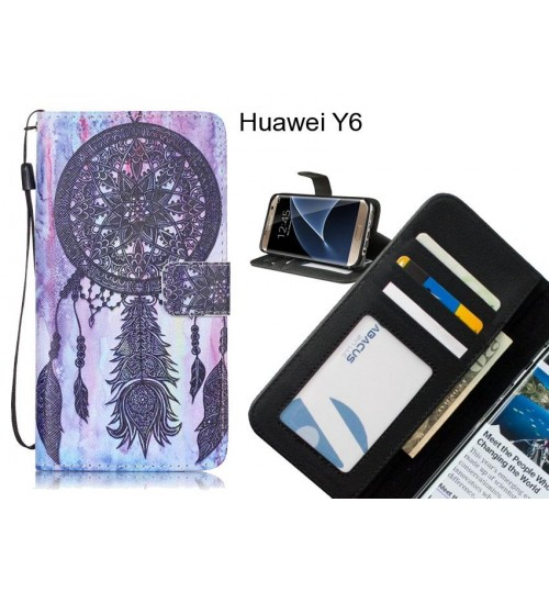 Huawei Y6 case 3 card leather wallet case printed ID