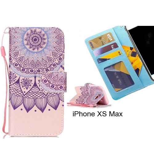 iPhone XS Max case 3 card leather wallet case printed ID
