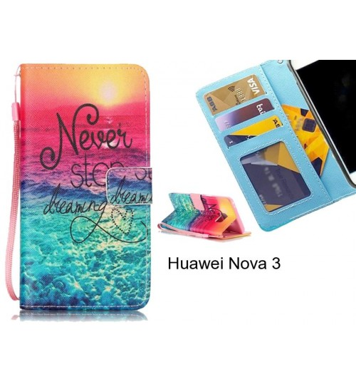 Huawei Nova 3 case 3 card leather wallet case printed ID