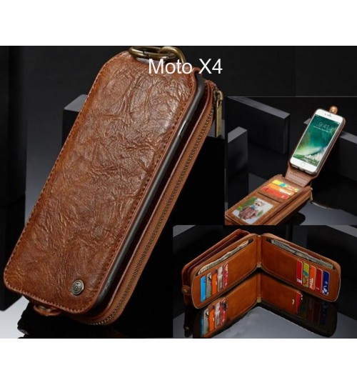 Moto X4 case premium leather multi cards 2 cash pocket zip pouch