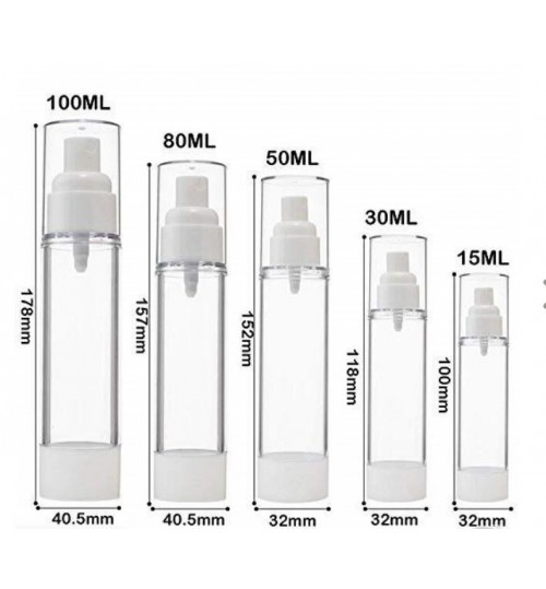Airless Vacuum Pump refill bottle cosmetics lotion , liquid 15 ml mist nozzle