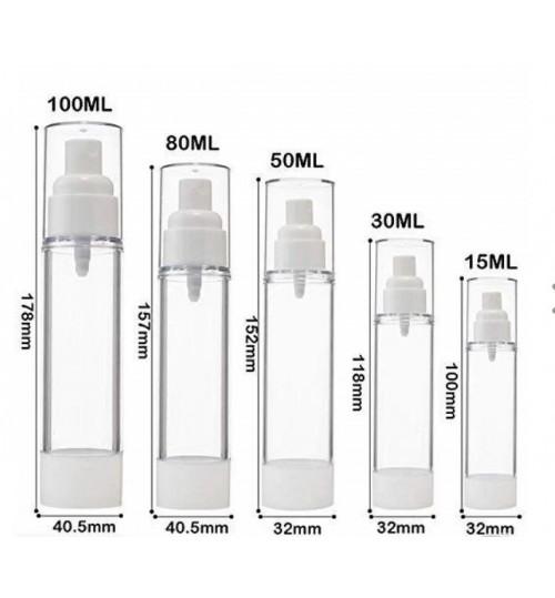 Airless Vacuum Pump refill bottle cosmetics lotion , liquid 15 ml mist nozzle