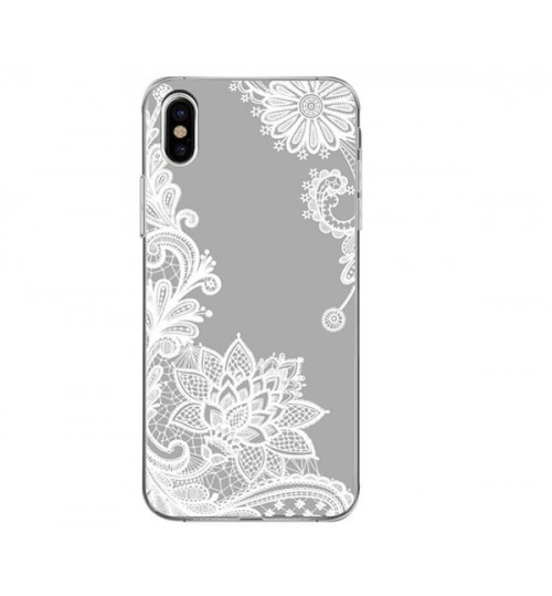 iPhone XS Max Lace Flower Mandala Clear Slim Soft Silicone Case Cover