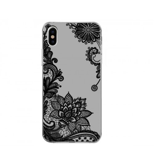 iPhone XS Lace Flower Mandala Clear Slim Soft Silicone Case Cover
