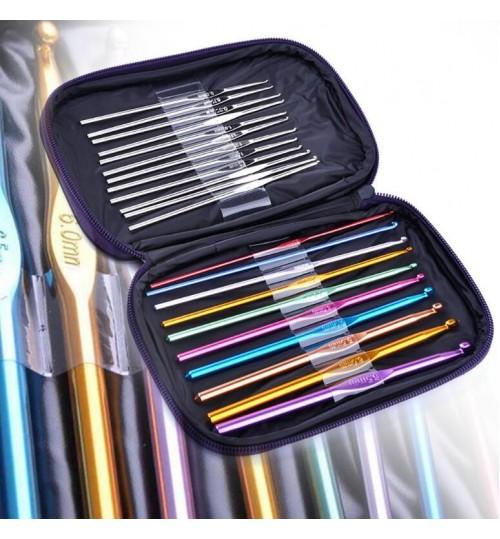 22pcs Aluminum Crochet Hook Needle Set