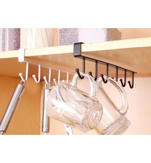 6 Hooks Stainless Steel Kitchen Storage Rack Cupboard Hanging Hook