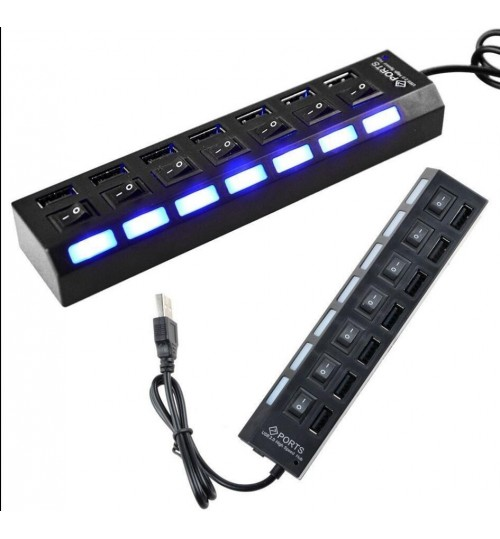 7 Port USB 2.0 Hub with On/Off Switches For Laptop PC with BLUE LED