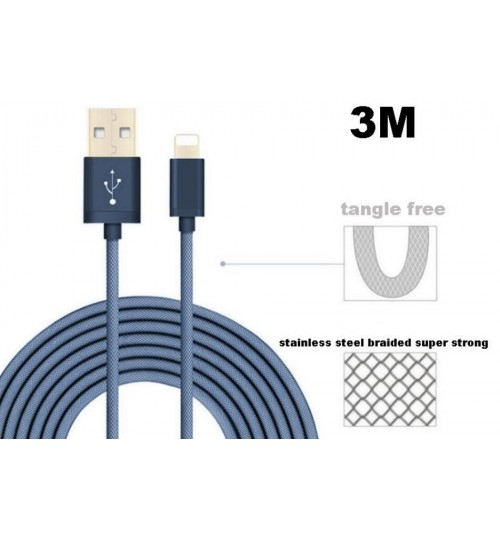 3M Iphone Ipad Lightning cable data charging cable braided Support latest IOS