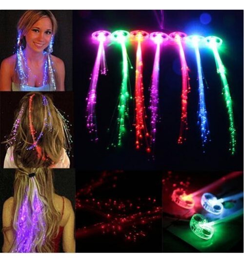 Hair Flash Barrette Clip Braid LED Light up Fiber Optic Costume Christmas Party