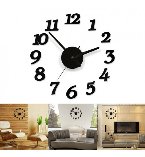 NEW Creative Modern DIY Wall Clock 3D Sticker Home Room Office Decor Time