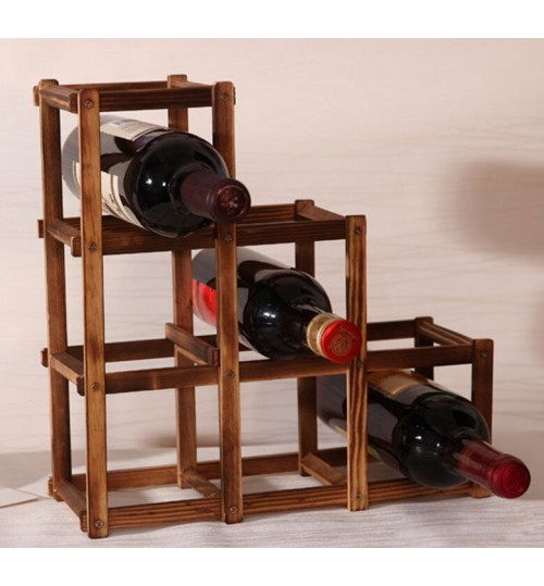 6 Bottle Pine Wood Folding Wine Rack Free Standing Kitchen Stand Bar Storage