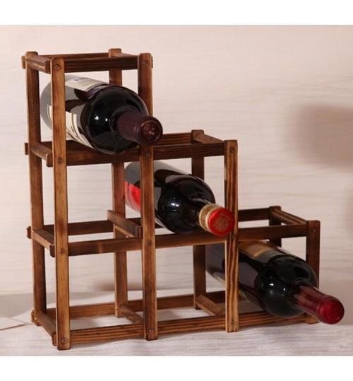 6 Bottle Pine Wood Folding Wine Rack Free Standing Kitchen Stand Bar Storage