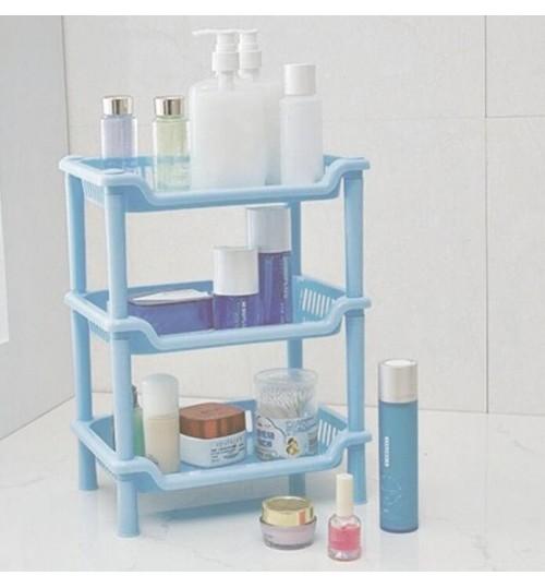 Square 3Tier Plastic Corner Shelf Organizer Bathroom Kitchen Storage Rack Holder