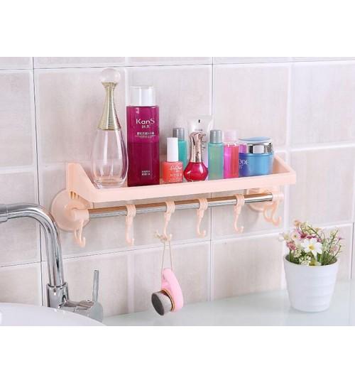 Wall Mounted Towel Rack Bathroom Rail Holder Storage Shelf Plastic
