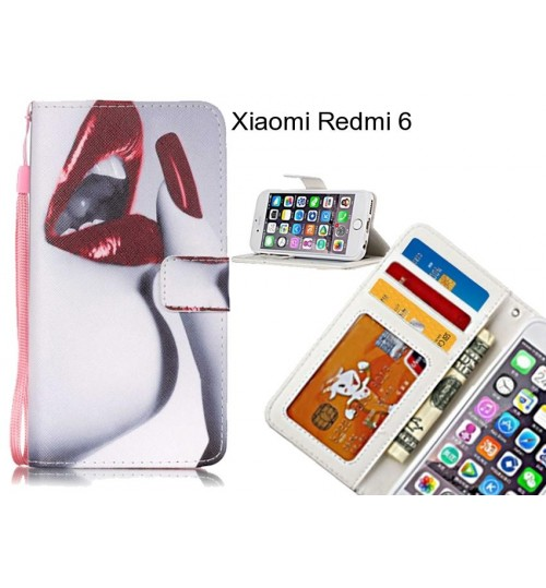 Xiaomi Redmi 6 case 3 card leather wallet case printed ID